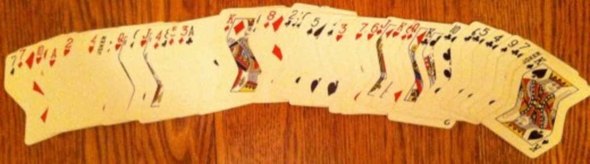 A crooked set of cards laid out.