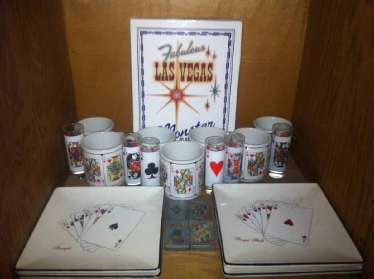 Decorative items with pictures of the various playing cards on them.