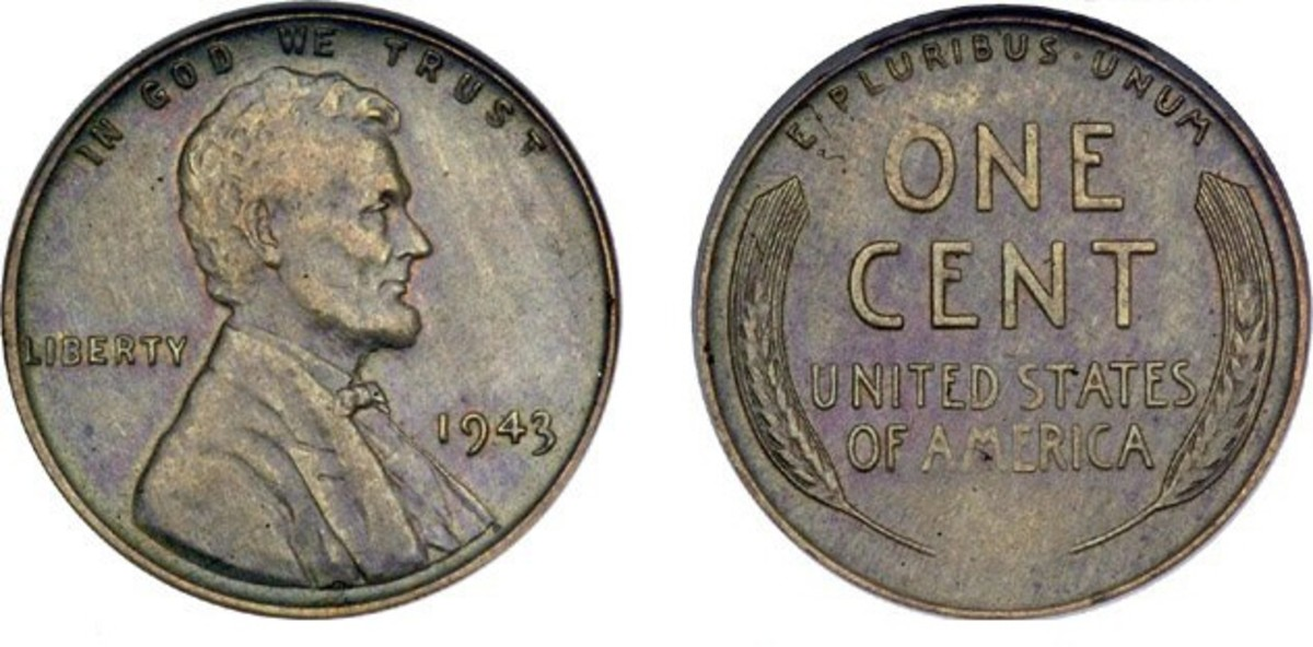 A 1943 copper penny (obverse and reverse).  There are forty known to be in existence.