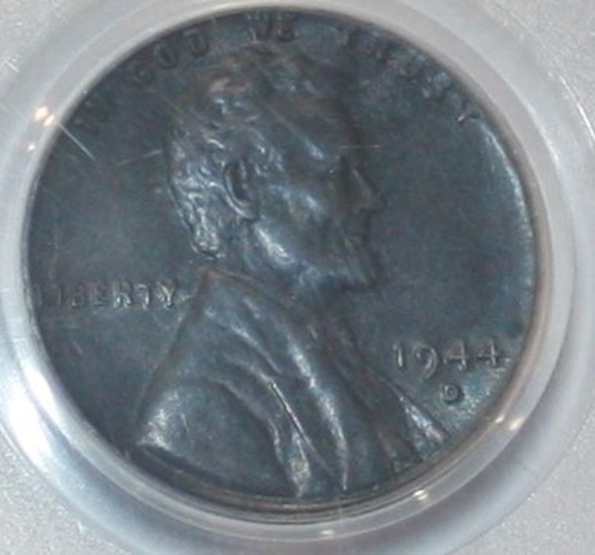 The elusive 1944 steel penny (obverse).  Less than a dozen of these are known to exist.