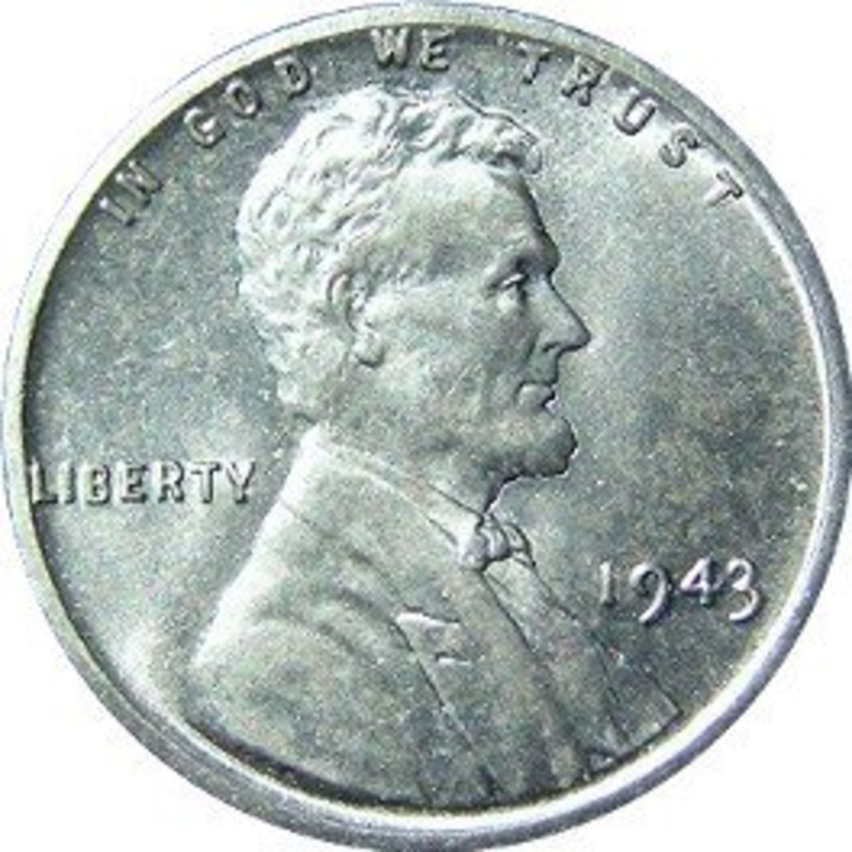 1943 steel penny, also known as a 'Steelie' (obverse and reverse).