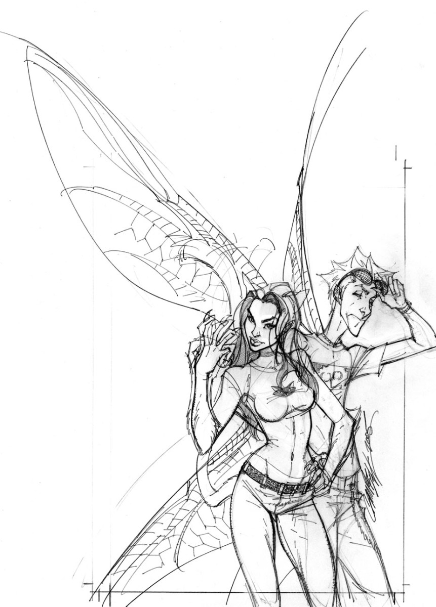 Wizard cover rough sketch by J Scott Campbell