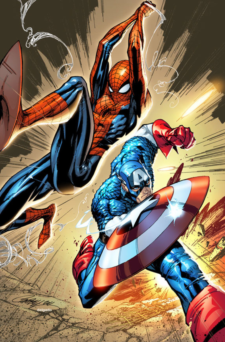 Spiderman- Captain America by J Scott Campbell