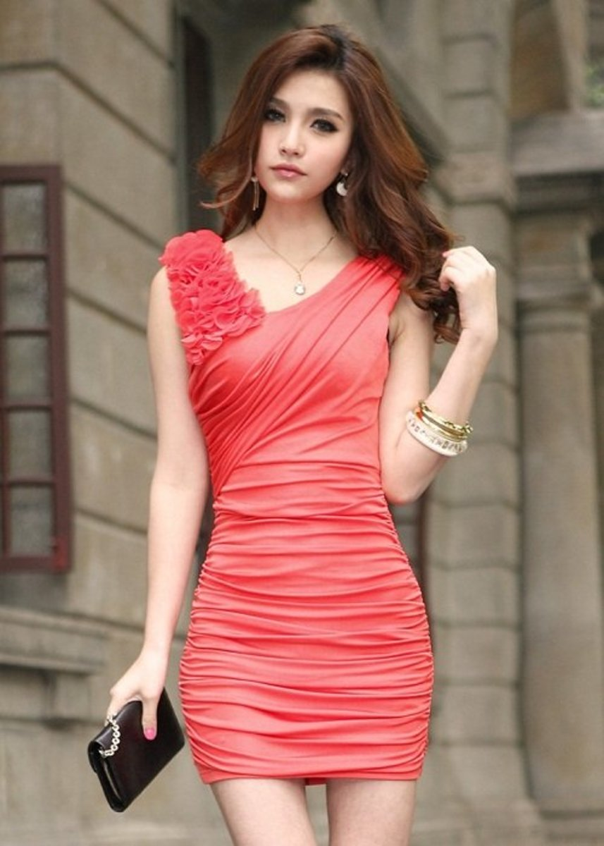 This dress is great for salsa because it's sexy, form-fitting, a pretty color, and a good length. Just skip the bracelets since they'll get in the way and you're good to go.