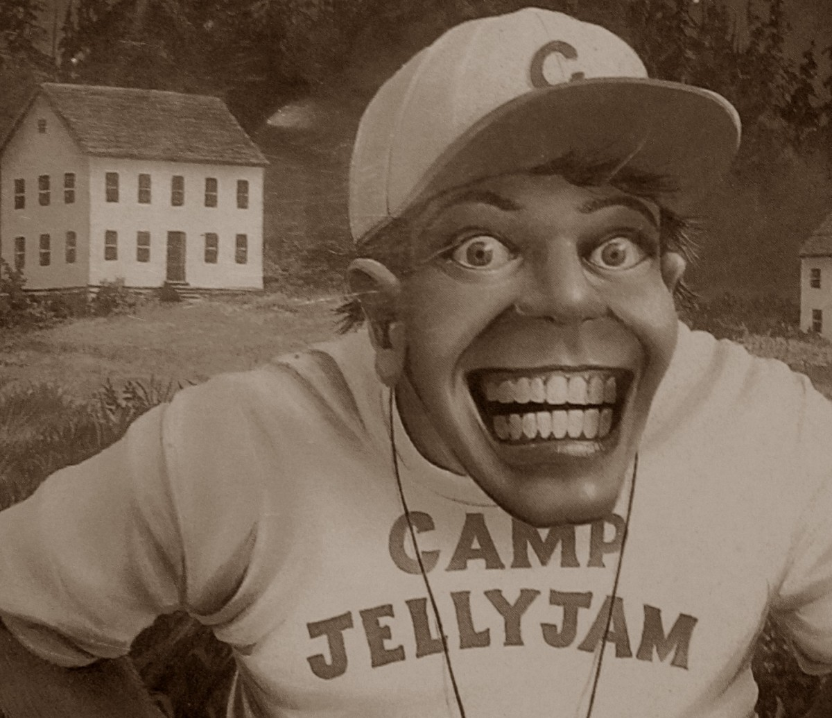 """Camp Jellyjam"" counselor poses for smiling photo on the cover of Goosebumps #33!"
