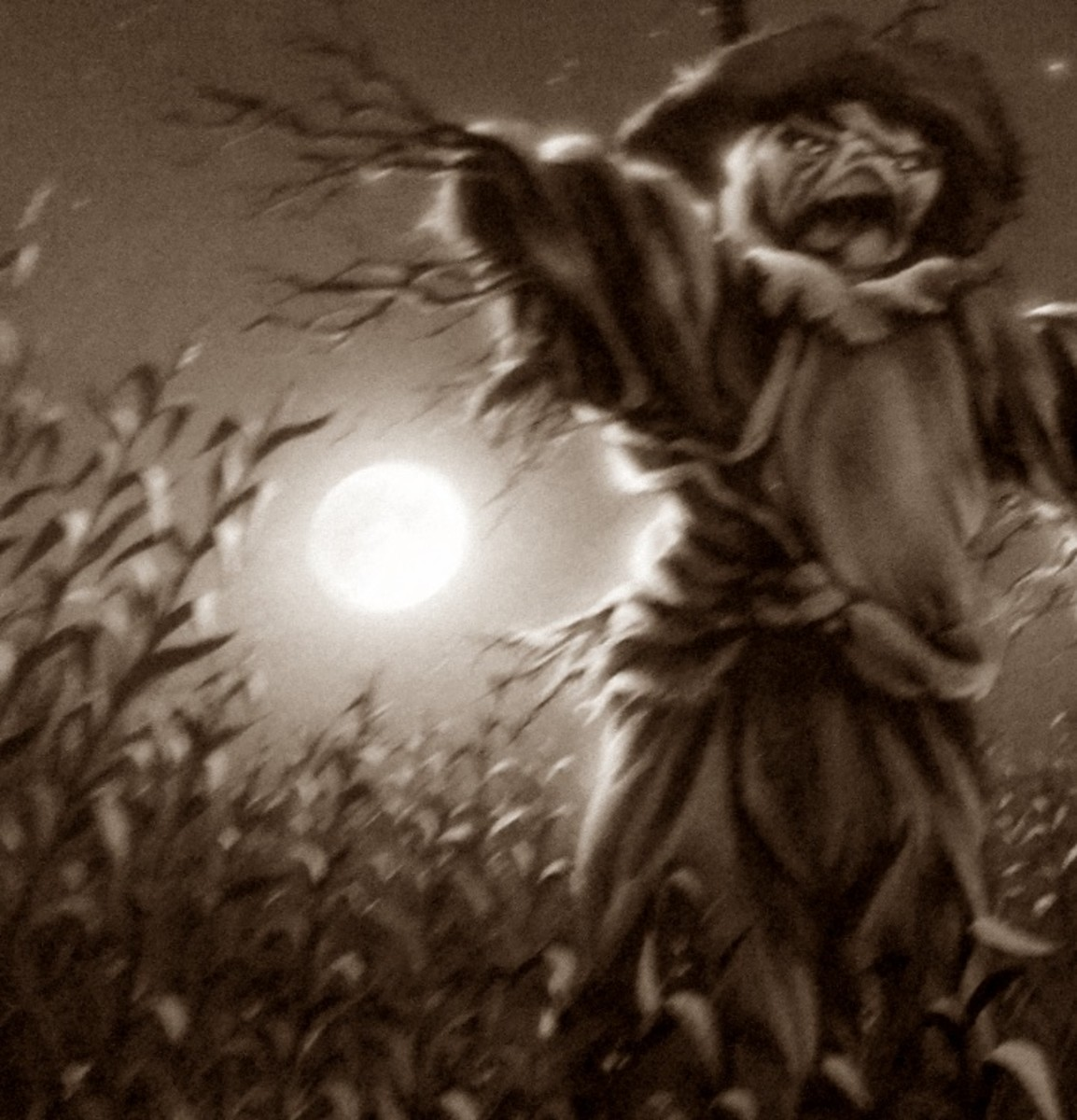 Cornfields = bad. Period. This is a closeup of the cover of The Scarecrow Walks at Midnight.