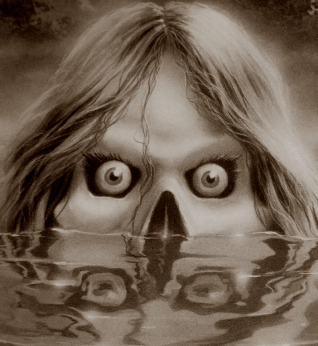 Anybody up for a swim in the lake? (Closeup of the cover for Goosebumps #56)