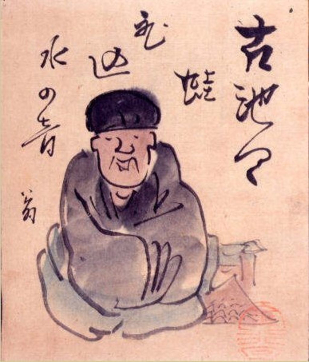 Pen and ink portrait of the Japanese Haiku master poet Basho.