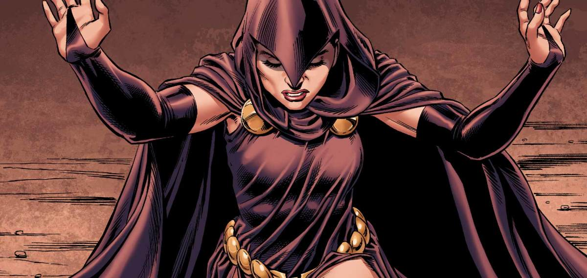 The sorceress Raven from DC Comics