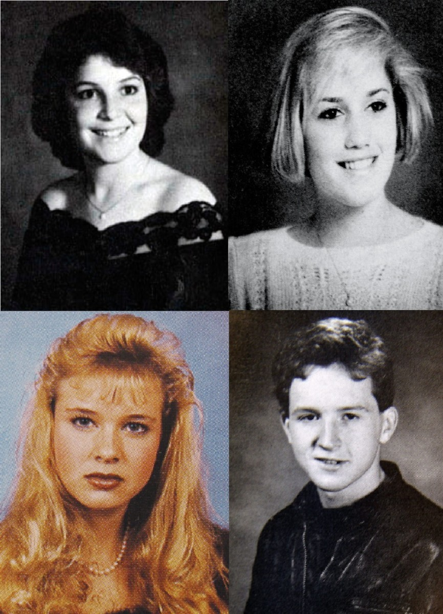 Identify the celebrities from their high school yearbook pictures. (Sarah Palin, Gwen Stefani, Rene Zellweger, and Louis C.K.)
