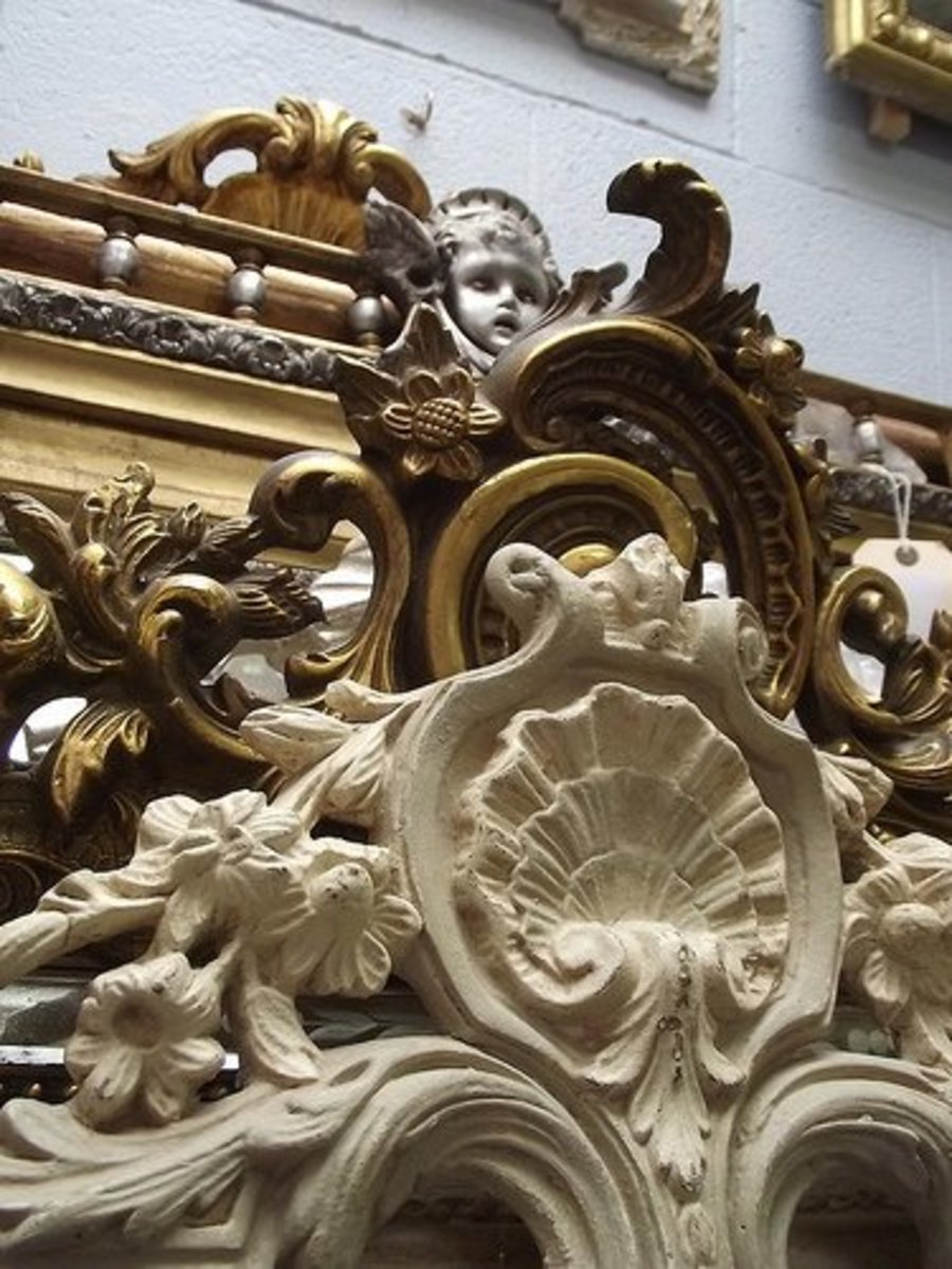 Antique mirror frames can be made from wood, metals or a composition material such as plaster.