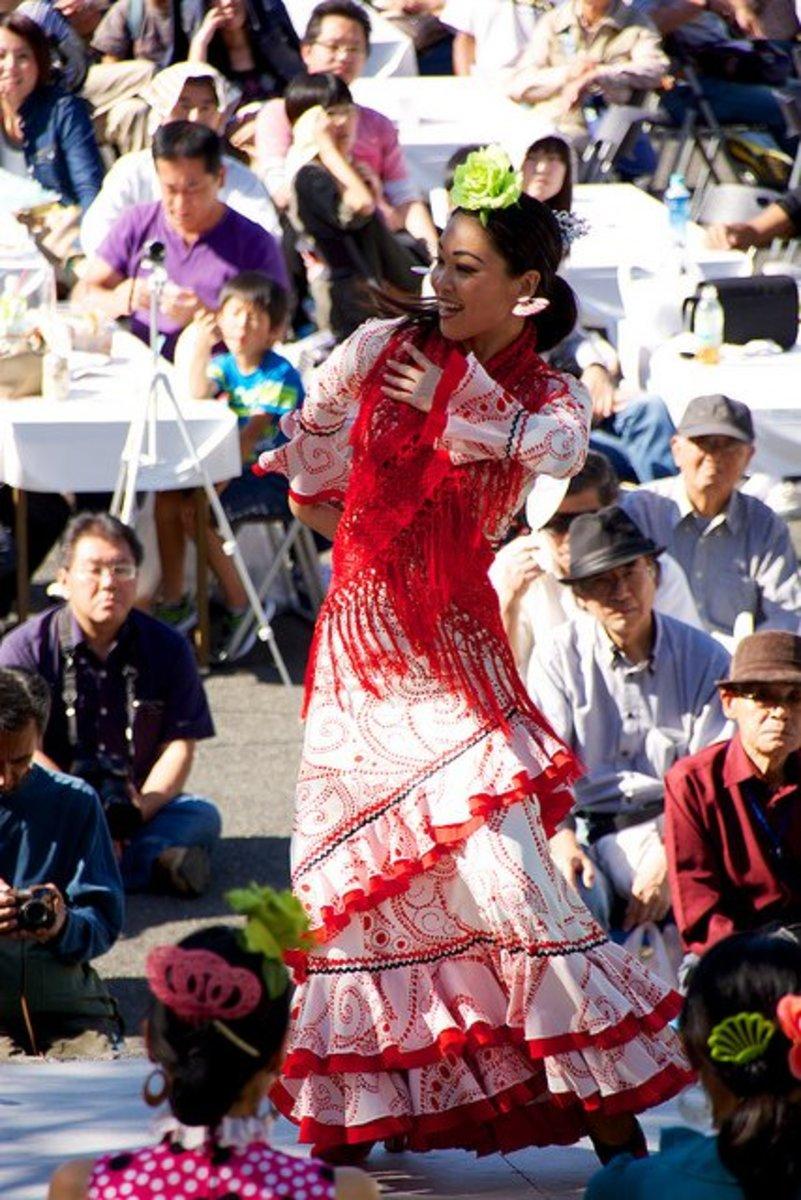 Flamenco shawl wrapped sarong style