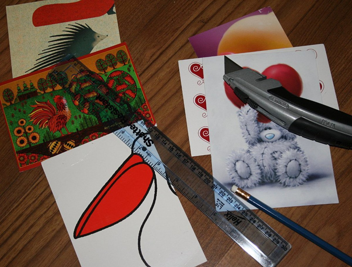 Before you start, assemble everything that you need: postcards, ruler, pencil, craft knife...