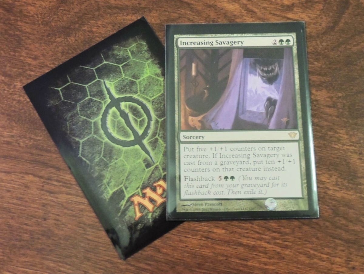 Magic: The Gathering Cards tucked safely in some sleeves that display the poison counter symbol.