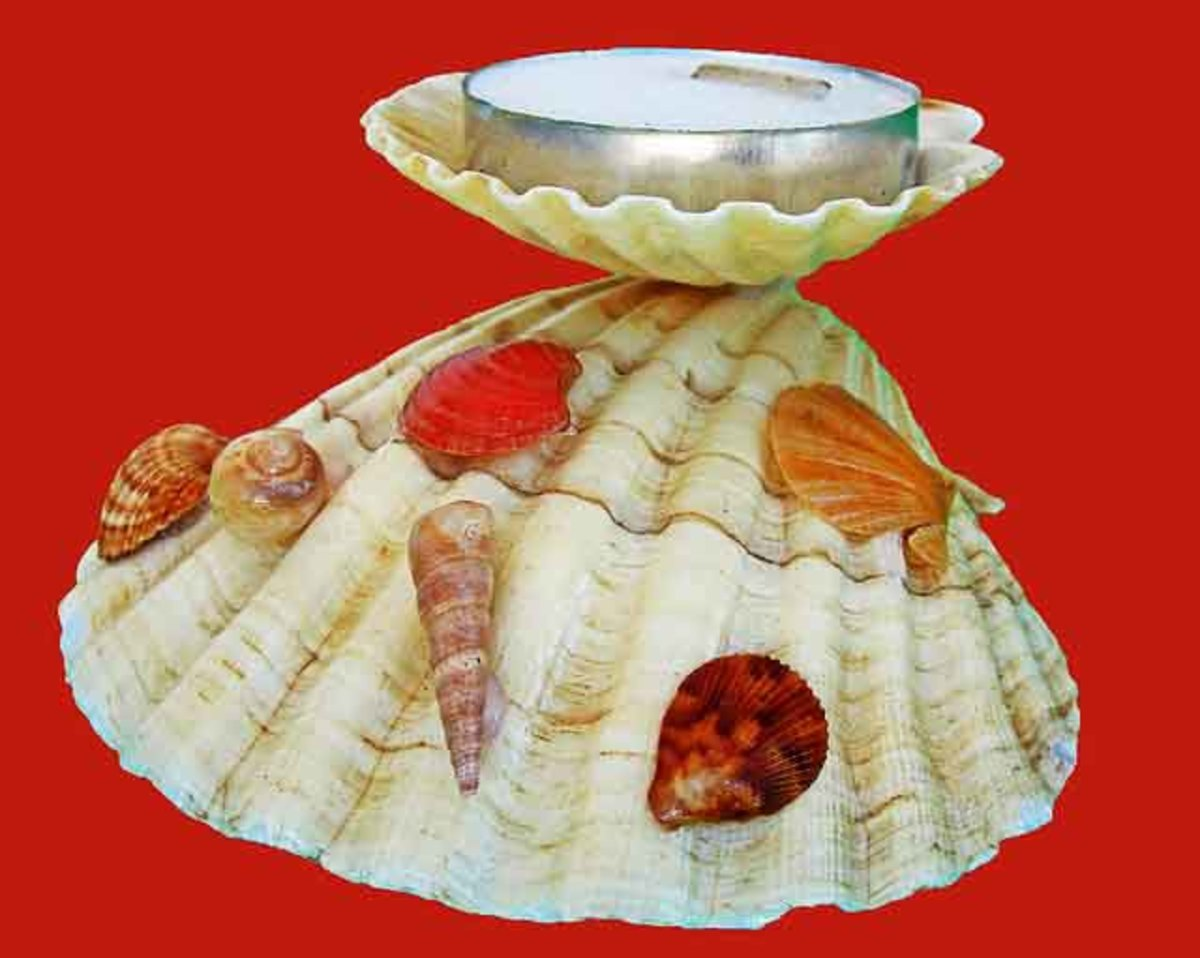 Two sea shells mounted to hold a tea candle. The base has been accented with other types of sea shells.