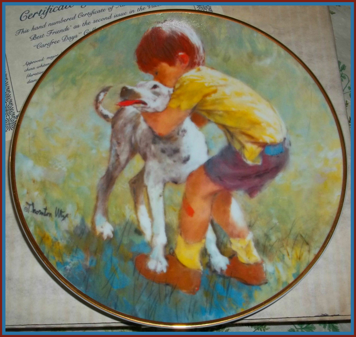"The Hamilton Collection limited edition collector plate from Viletta China, ""Best Friends"" by the artist Thornton Utz. It is the 2nd issue in the Carefree Days series of plates. This plate measures 8 1/4"" across."