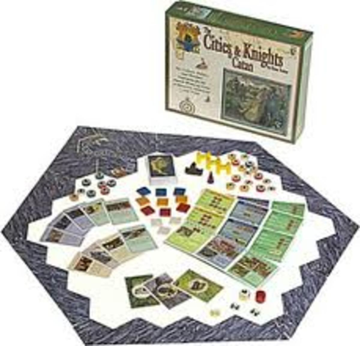 Box contents for Cities and Knights.
