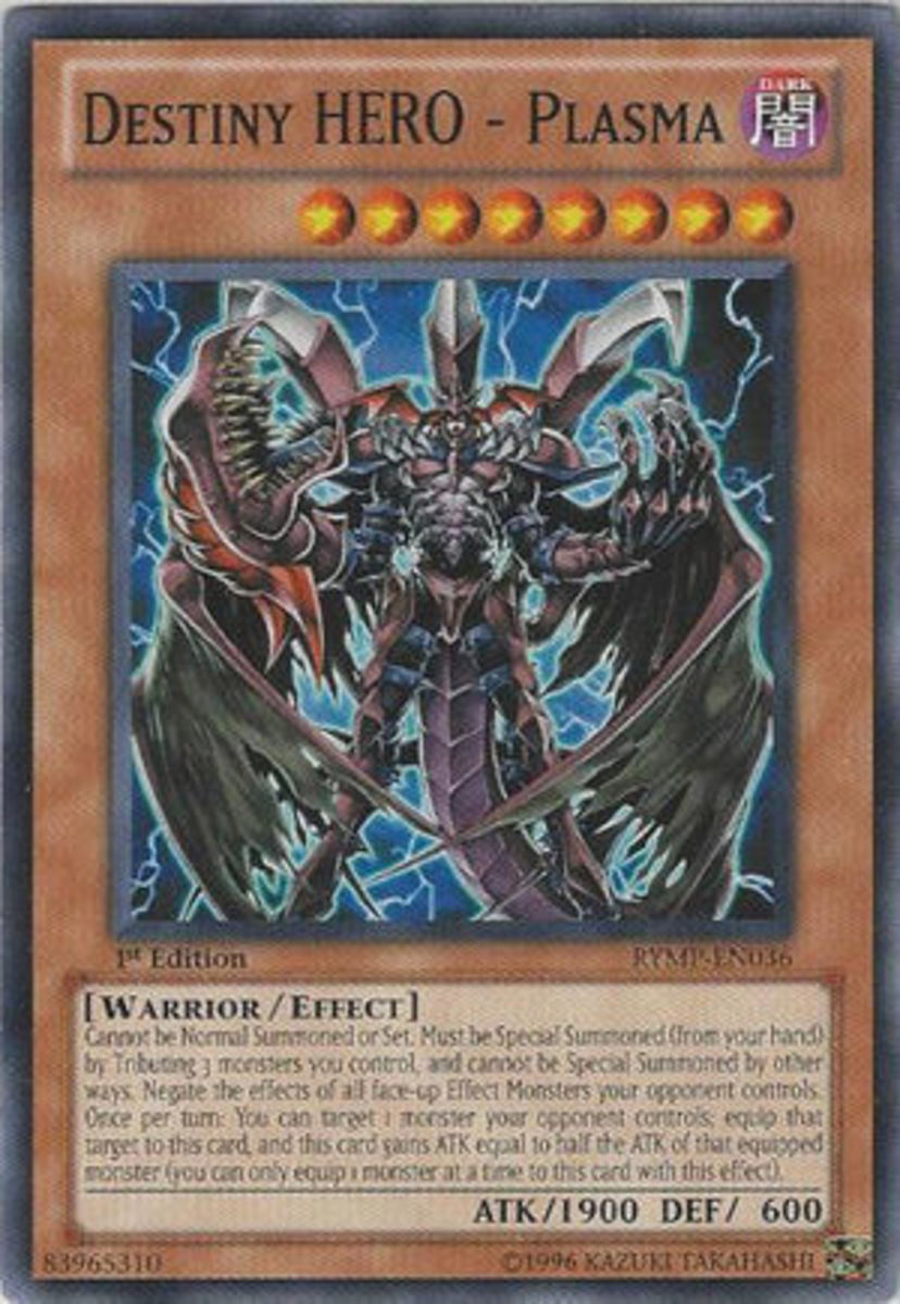 Destiny HERO—Plasma. Another three-tribute card who can gain attack from an opponent's monster.