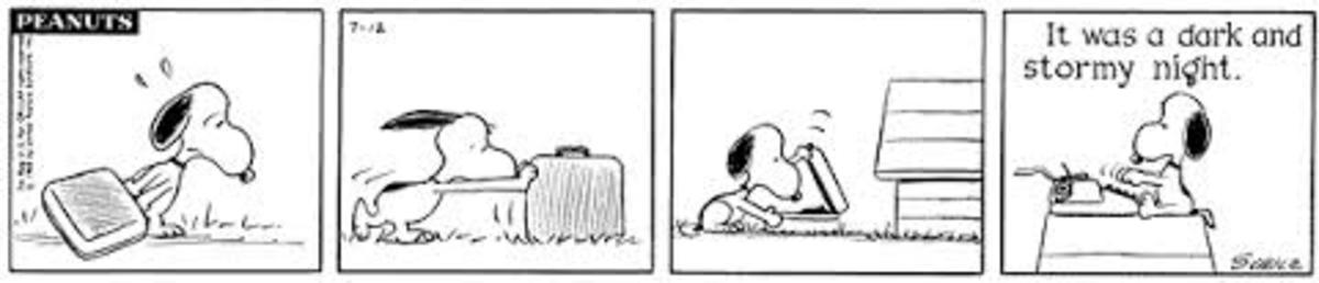 Snoopy loves his typewriter and dreams of becoming a novelist one day, July 12, 1965