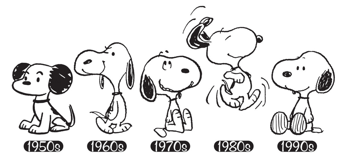 Snoopy's appearance has evolved over the decades