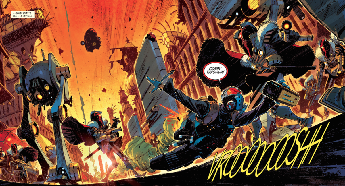 Example of the art by Matteo Scalera from issue 16 of Black Science.