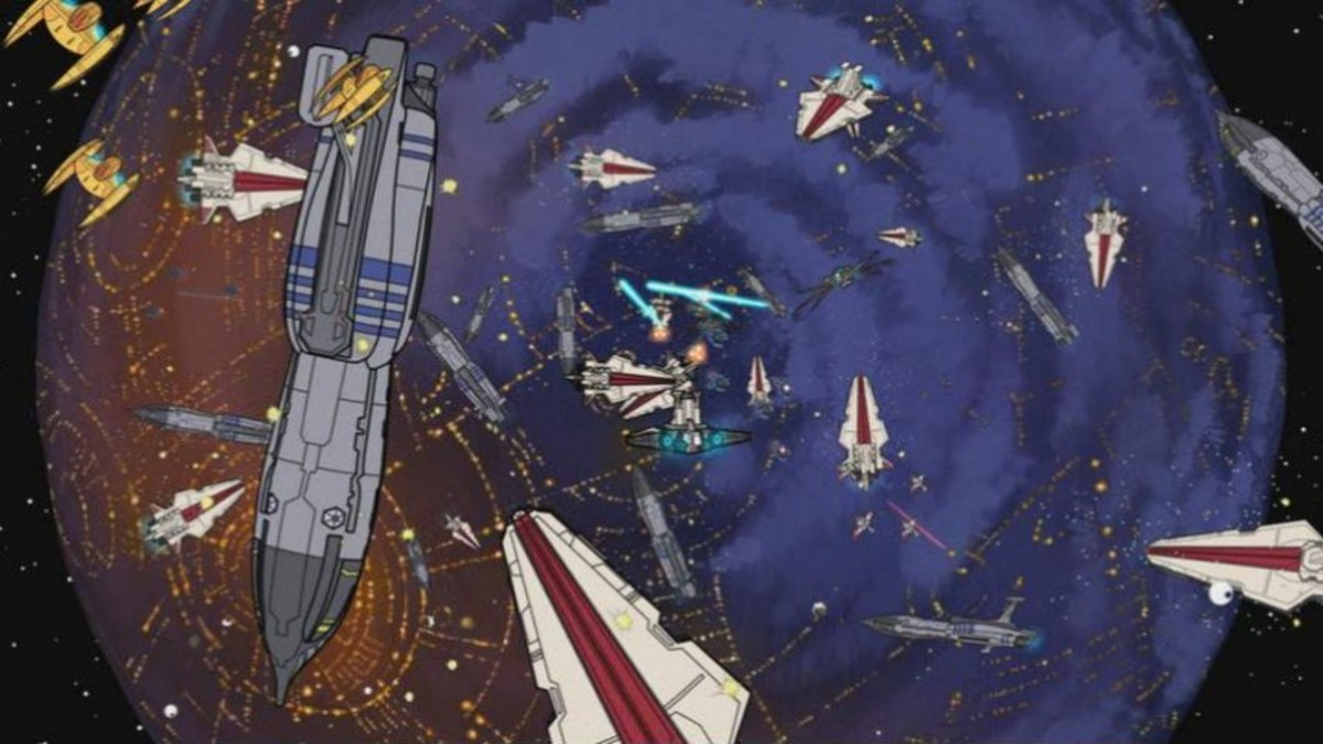 The Battle of Coruscant rages on in space above Coruscant.