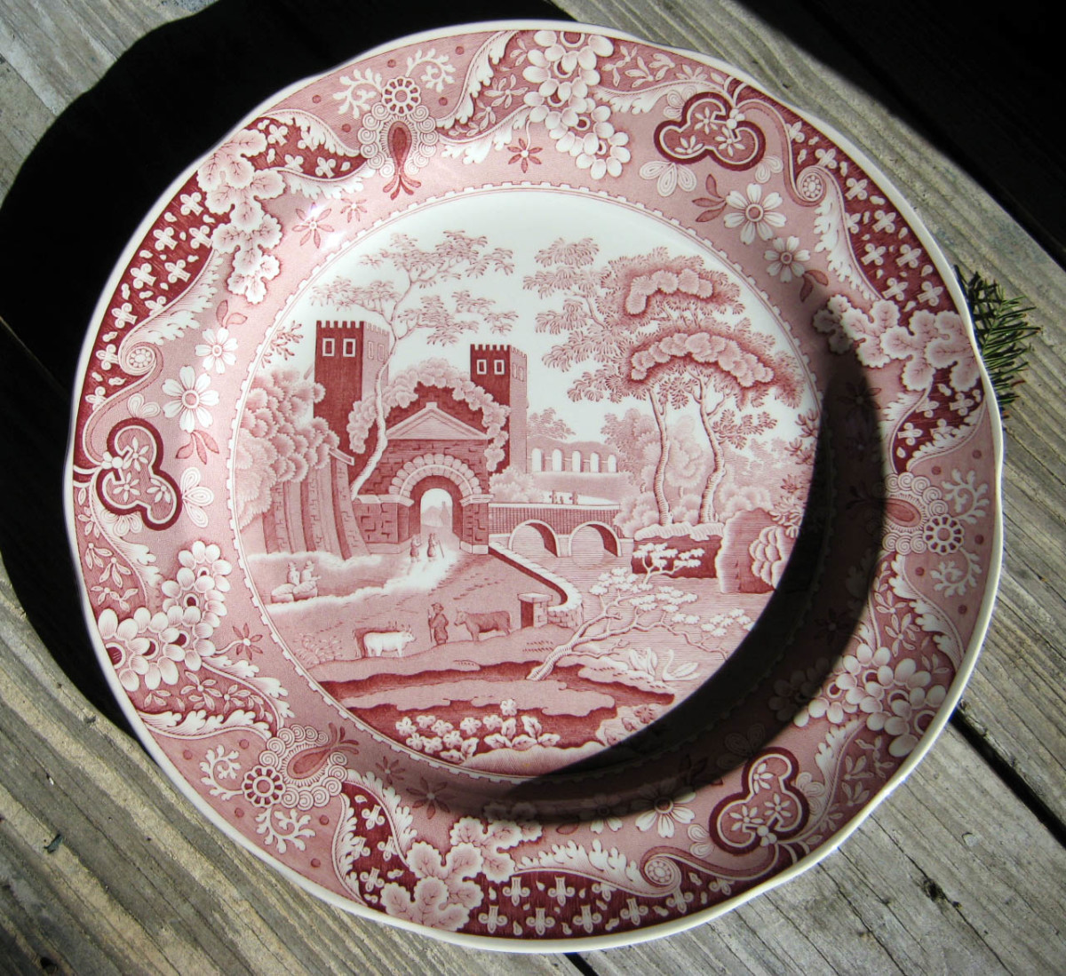 Spode Archive Collection.  This reissue of a traditional transferware pattern features a British castle in a lovely shade of cranberry.