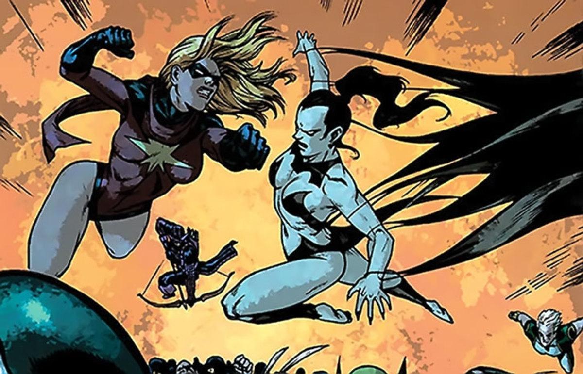 Ms. Marvel (left), Nekra (right)