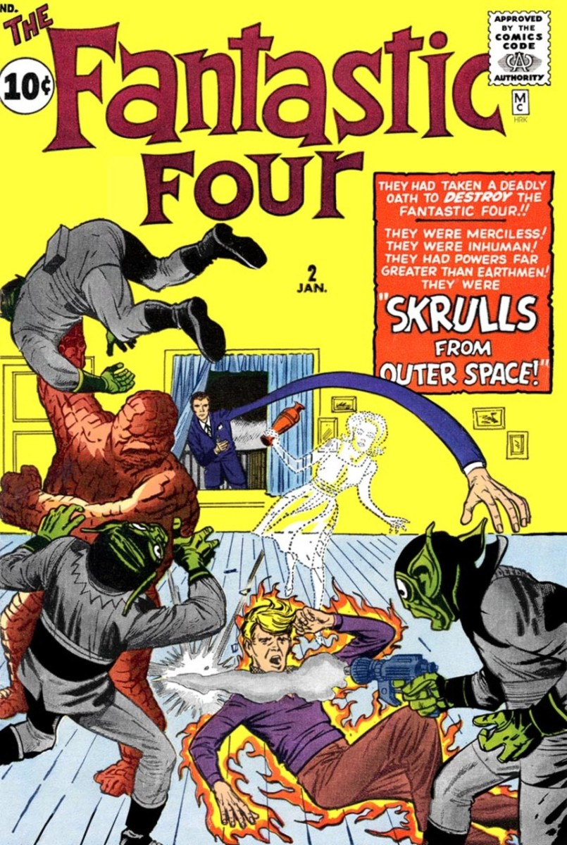 The first encounter with the Skrulls in FF#2 by Lee/Kirby