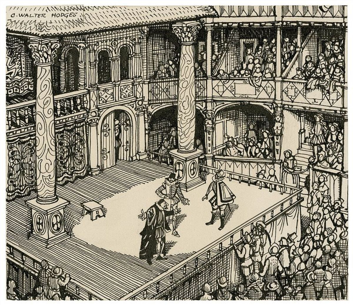 The imagined view of an Elizabethan performance by C. Walter Hodges.