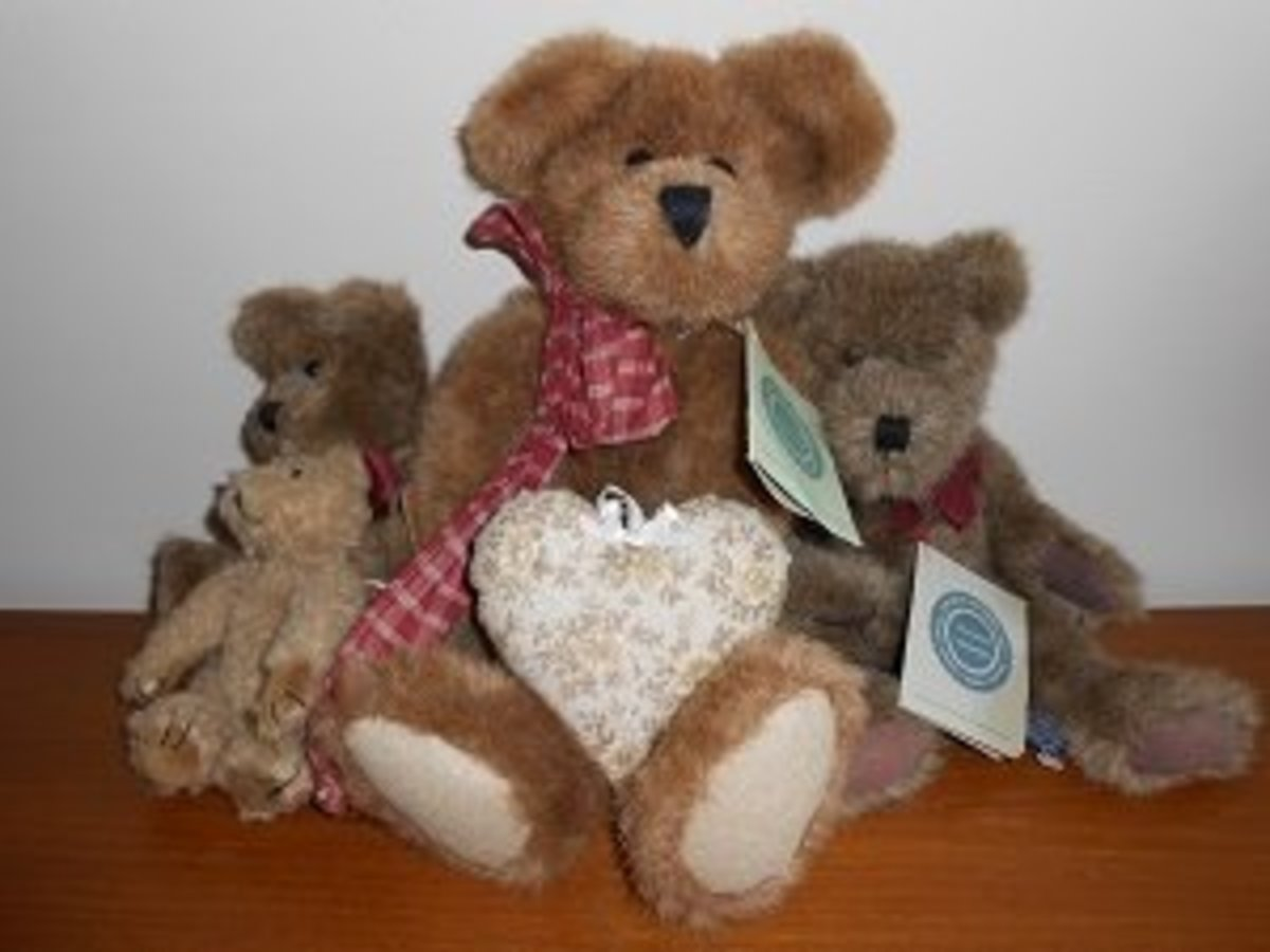 """This is the picture I have as my profile picture on my eBay store site. My eBay store is called faithful heart Treasures...and I think these Boyds Bears are """"treasures!"""""""