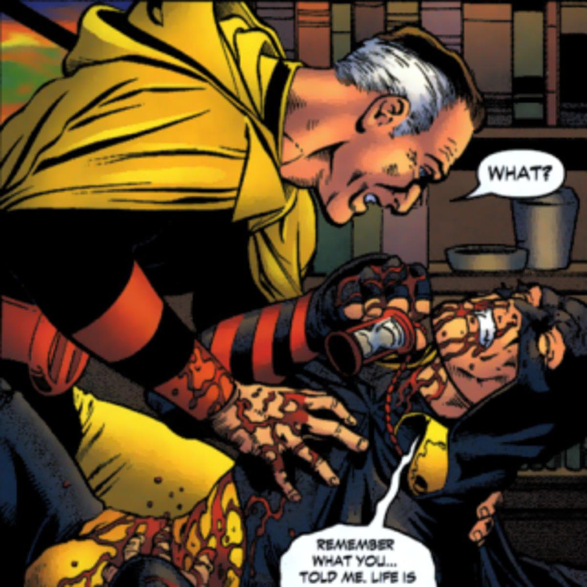 Rex Tyler with a bleeding Rick Tyler, Hourman I and Hourman II, respectively