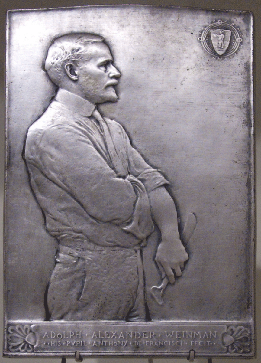 "Adolph Alexander Weinman, 1915, cast and silver plated white metal relief by Anthony de Francisci. The legend at the bottom, written partly in Latin, reads: ""His Pupil Anthony de Francisci Fecit [Made This]."" The work is in the Smithsonian American A"