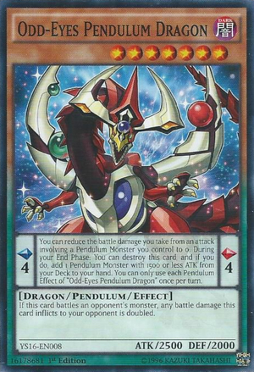 Odd-Eyes Pendulum Dragon. Pendulum cards are orange (yellow for non-effect monsters) on top and green on bottom.