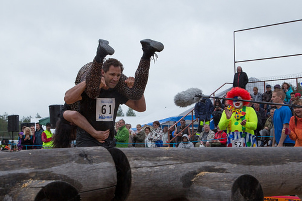 An example of wife-carrying.