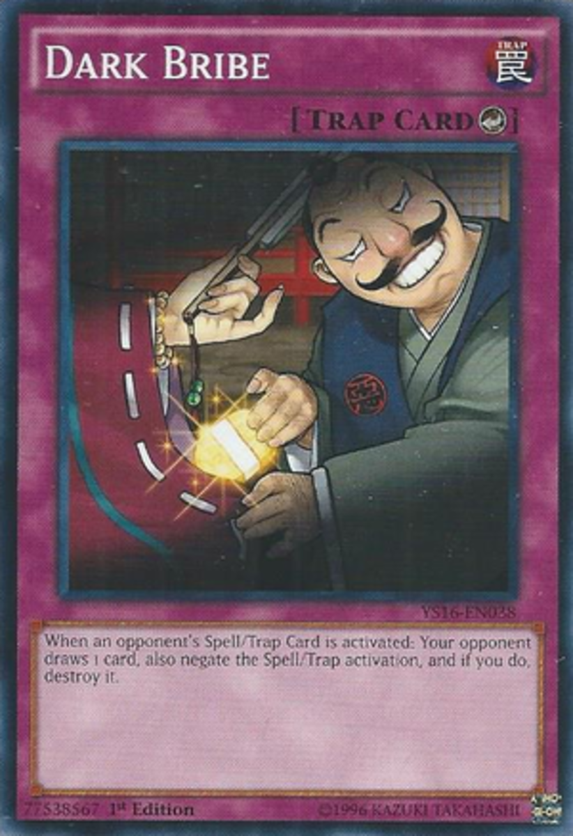 Holy cow look how big that gold coin is!  Give me that coin, creepy mustache man, and sure I'll stop the activation of my Spell or Trap.  Shoot, you can have my whole deck for it.  I'm going to Disney Land.