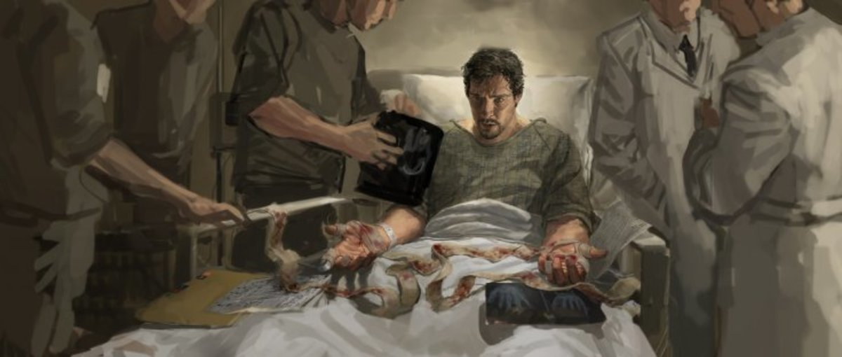 Strange loses use of his hands- concept art from the film