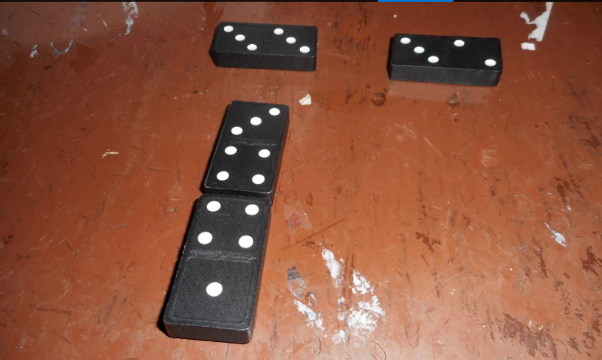 This is a few pieces in a Double Three line. You have the starter Double Three and I'm showing  an example of two lines started by two players.