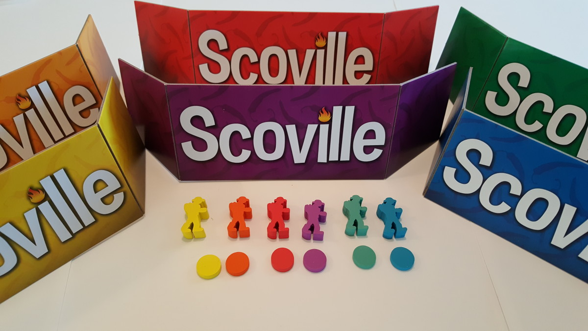 Scoville is a game for up to six players, each with different colored pawns and screens