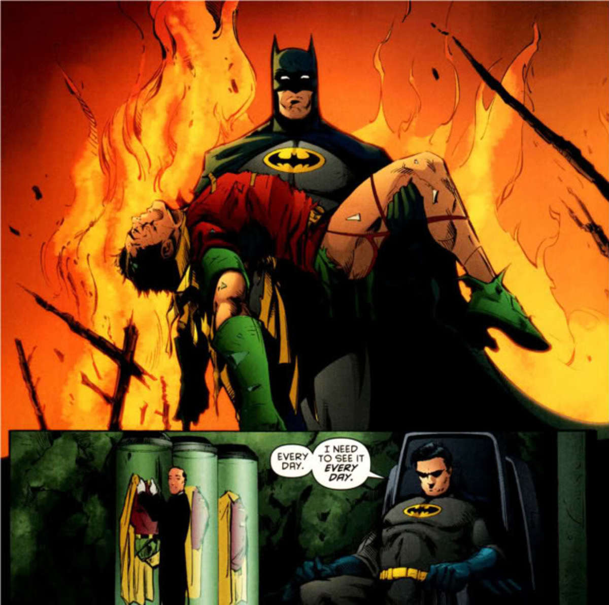 Batman reminds himself of his loss.