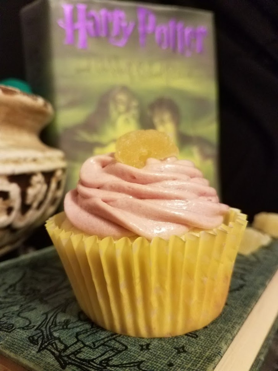 Lemon Drop Cupcakes With Raspberry Jam Frosting and Crystallized Pineapple