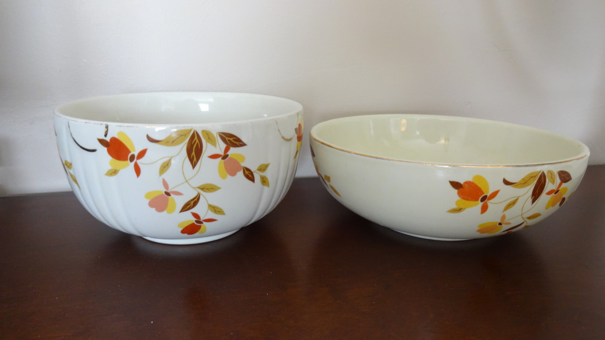These are some early examples of the Autumn Leaf line for Jewel Tea by Hall China