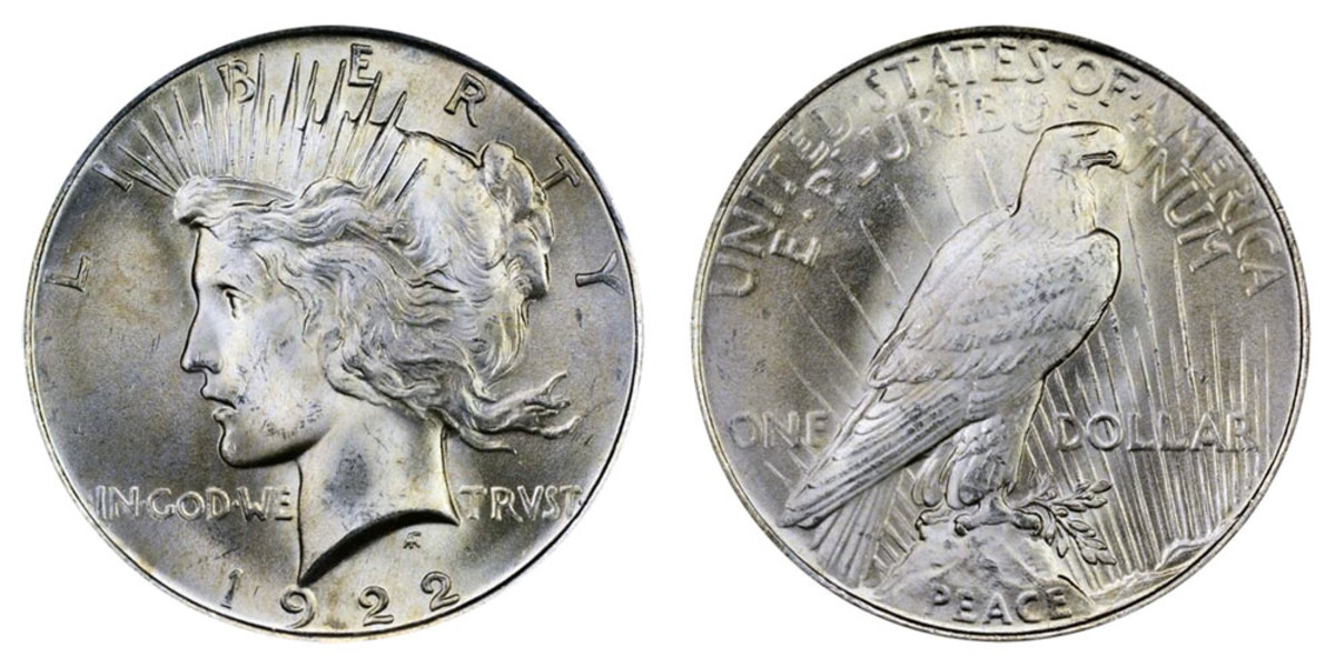 1922 Peace silver dollar with low relief design.