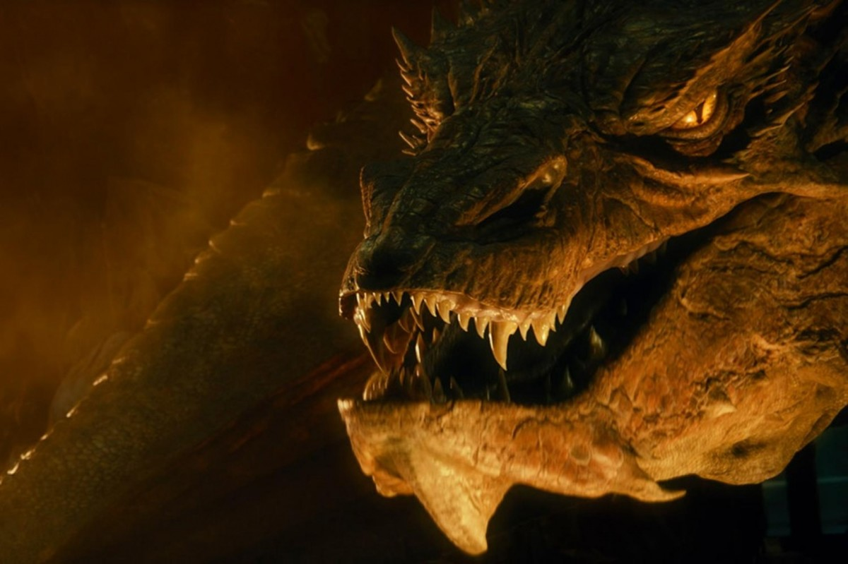 From New Line Cinema. Though ages apart, Smaug is the descendant of Glaurung.  As such he inherited his predecessor's intelligence.  It has been said to never engage in a conversation with a dragon on Middle-earth.