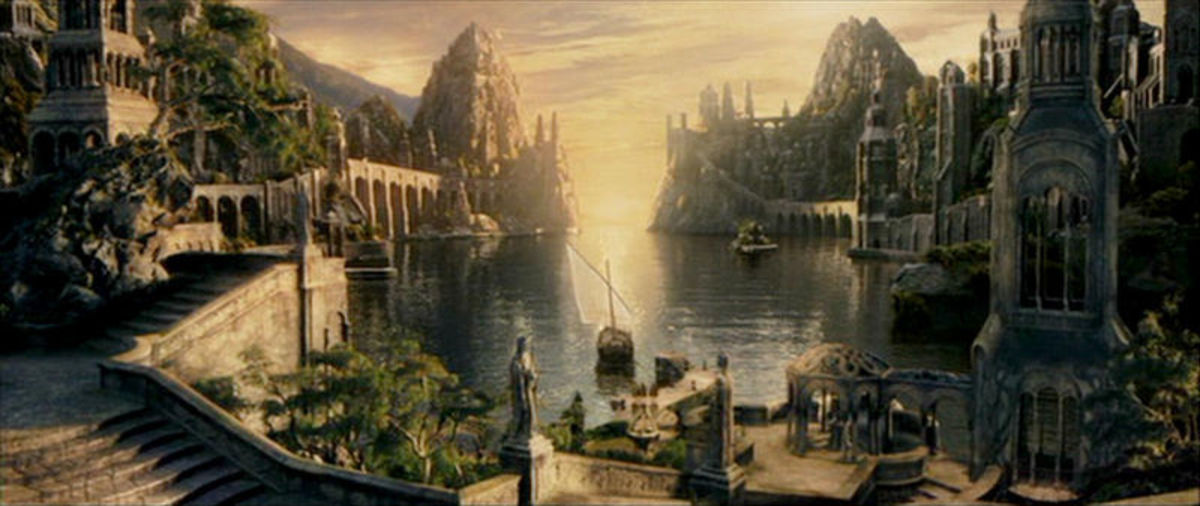From New Line Cinema: The departure of Galadriel and Elrond from the Grey Havens at the close of the Third Age was not just an ending to the era, but to a drama that went back to Middle-earth's beginning.  Finwe's trait of exploration had also ended.