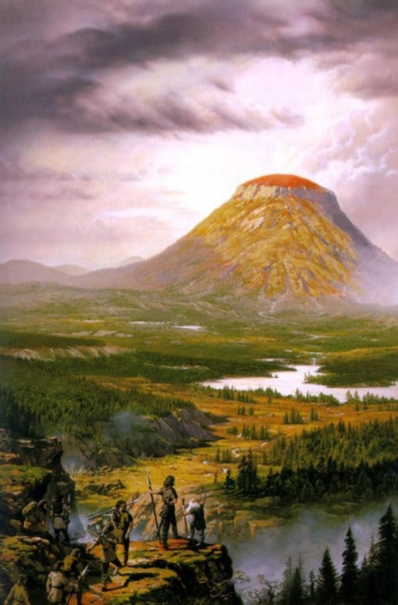 By Ted Nasmith.  Amon Rudh was a small hill top near Doriath.  From here Turin trained a group of bandits into guerrilla fighters and it is where his charisma truly starts to shine through.