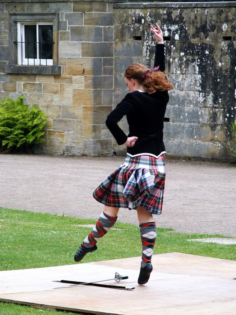 Highland dancers wear soft shoes to allow the feet to point and flex