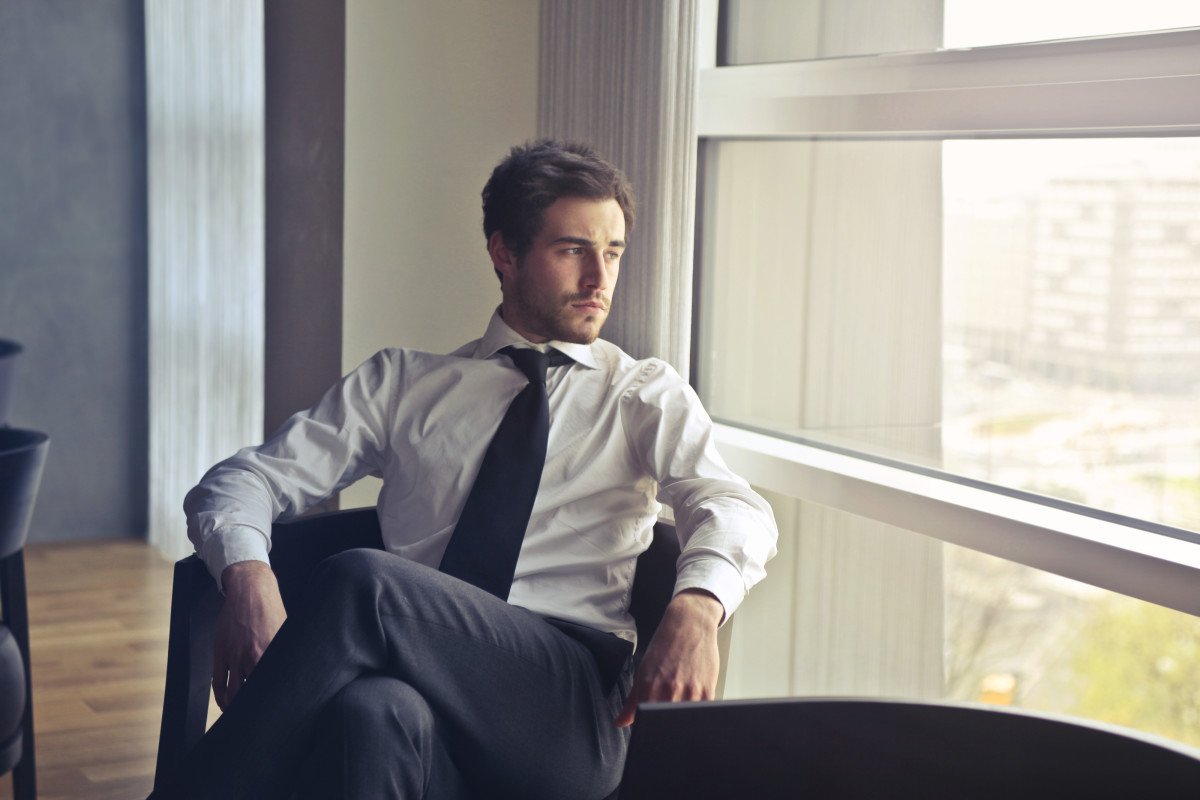 The handsome pensive CEO