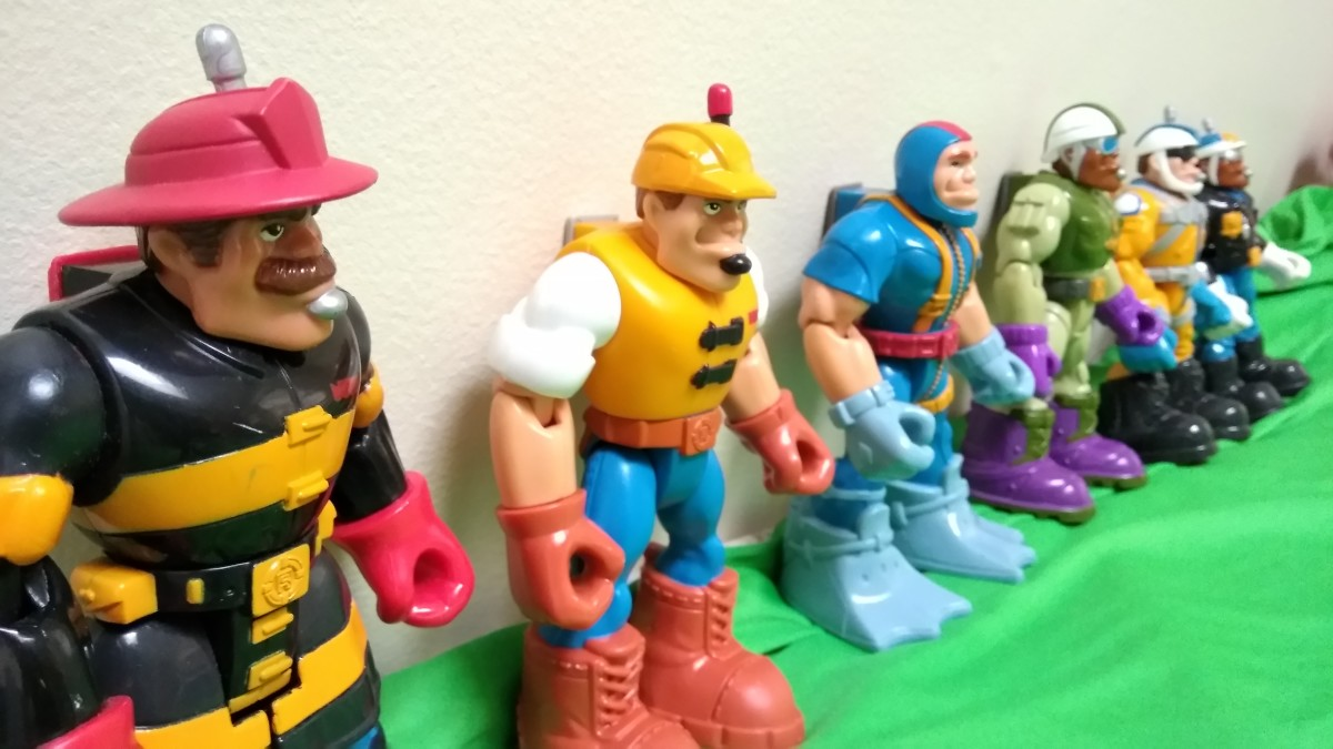 The original six Rescue Heroes: Billy Blazes, Jack Hammer, Gil Gripper, Rocky Canyon, Cliff Hanger and Jake Justice