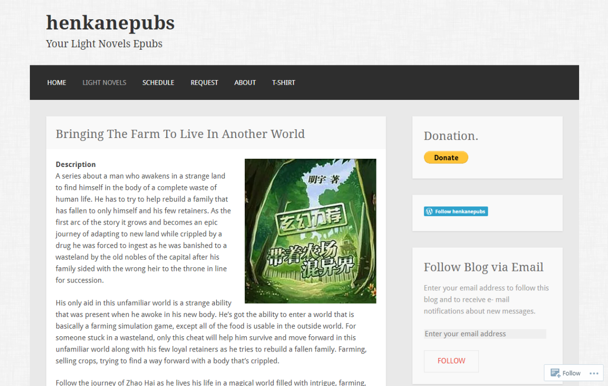 """This is Henkanepubs' download page for the light novel """"Bringing the Farm to Live in Another World."""""""